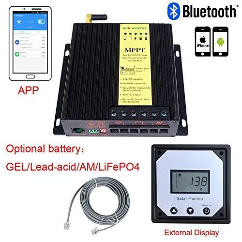 ECO-WORTHY MPPT Ladekontroller, 20 A, LCD-Display für Gel AGM LiFePO4 Akku