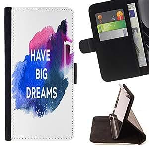 King Case - FOR LG G2 D800 - have bg dreams - Prima caja de la PU billetera de cuero con ranuras para tarjetas, efectivo Compartimiento desmontable y correa para la mu?eca