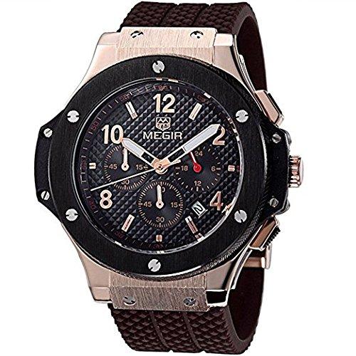De silicona para hombre Megir de cuarzo de gran Rostro de las fuerzas armadas de la muñeca del deporte del reloj de pulsera para mujer: Amazon.es: Relojes