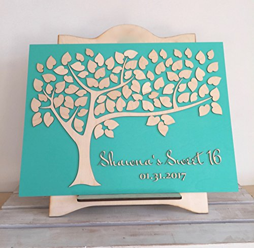 LOVE NILE Sweet 16 Guest Book Bat Bar Mitzvah, Birthday, Anniversary Or Baby Baptism Tree of Wishes Party Decoration Keepsake (Best Wishes For Baby Baptism)