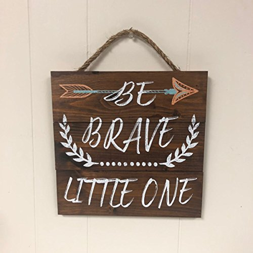 Artblox Rustic Nursery Room Sign Be Brave Little One Quotes, Arrow & Flower Ornaments Artwork, Barn Wood Pallet Farmhouse Wooden Plaque Art Print, 10.5x10.5 - Brown by Artblox