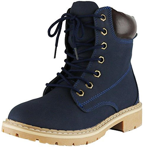 Cambridge Select Women's Work Combat Military Lace-Up Lug Sole Boot,7 M US,Navy
