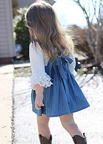 33faba6db4 Toddler Baby Girl Denim Dresses Lace T-Shirt Suspender Skirt Set ...