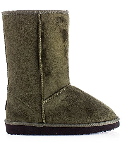On Suede Lug ROOM Faux FASHION Sole Eskimo Calf Fur RF Fur Long Vegan OF Mid Slip Winter Olive Boots Toe Round 21 7ZFwq1d