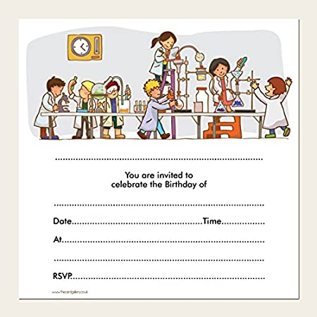 kids birthday invitations science party pack of 10 amazon co uk