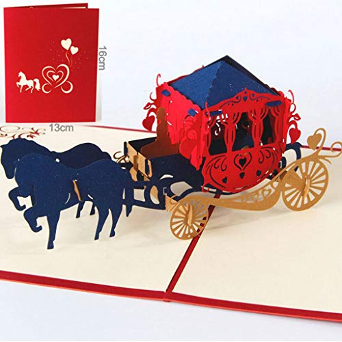Glumes Vintage Carriage Handmade 3D Pop Up Greeting Cards Invitation Cards for Graduation Gift Wedding, Valentines,Lovers,Couple's Cards for Classmates, Students, Teacher -