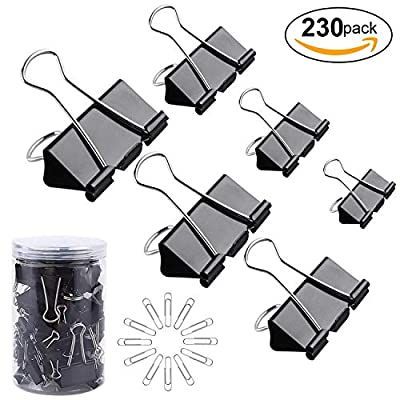 120Pcs Binder Clips Paper Clamps Assorted 6 Sizes & 100Pcs Metal Fold Back Paper Clips with 2 Sizes with Box for Office, School and Home Supplies, Black, Silver