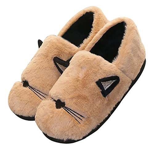 96a6576b9d58 Womens Fluffy Cute Animal Slippers Embroidery Cat Soft Comfy Plush Memory  Foam Indoor Slip on House Shoes - Buy Online in UAE.