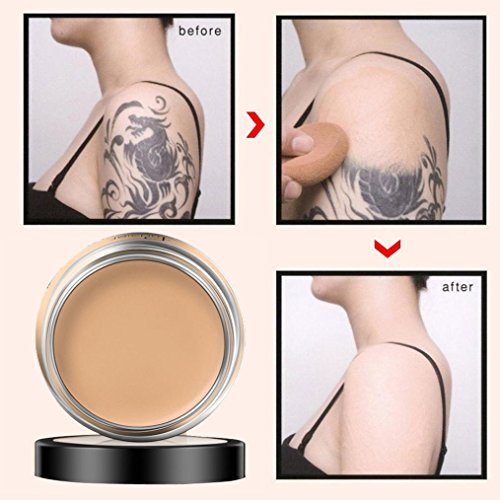 Ecosin Full Coverage Scars, Blemishes,Birthmarks Cream Concealing Foundation Concealer Makeup Silky Smooth Texture (B)