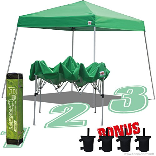 ABCCANOPY 10×10 Slant Leg Outdoor Pop Up Portable Shade Instant Folding Canopy With Carry Bag Bonus Weight Bag (kelly green)