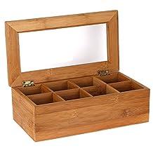 Estilo EST0217 Bamboo Tea Storage Box, 8 Equally Divided Compartments, Wood