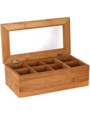 Estilo Bamboo Tea Storage Box, 8 Equally Divided Compartments