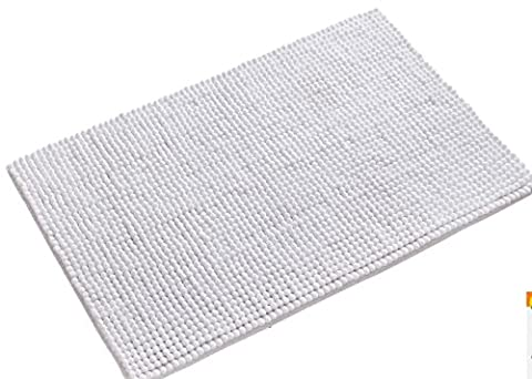 wendana Bathroom Rugs Non Slip Fluffy Microfiber Shag Bath Mats Water Absorbing Floor Carpet Bath Rugs for Bathroom 20 x 32 (Shag Bathroom Rug White)