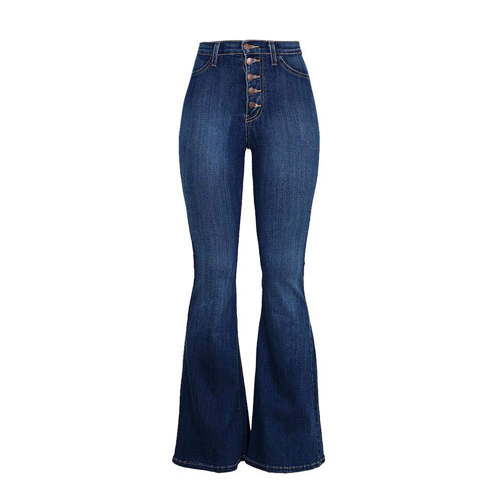 Dragon868 Pantalone Donna, Pantalone Palazzo Donna Button Down Jeans Palazzo Skinny Denim Vita Alta Stile Hippop Vintage S-2XL