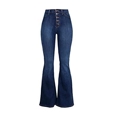 4be62502e Women's Juniors High Rise Button Fly Flare Jeans Bell Bottom Denim Pants  (S, Dark