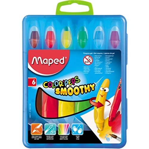Maped Color'Peps Smoothy Gel Crayons, Assorted Colors, Pack of 6 (836111) (Maped Color Peps)