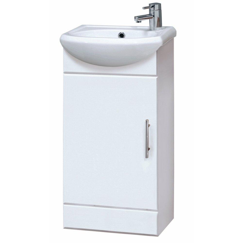 Premier Homebathroom NVS100 400 mm Haute Brillance Mayford Compact Armoire de salle de bain et lavabo – Blanc