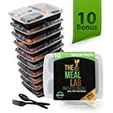 [BONUS-PACK] 10 Long Lasting 3-Compartment BPA FREE Stackable Meal Prep Food Storage Containers with Lids | Leak Proof Bento Lunch Box | Reusable Portion Control Plates for Weight Loss + FREE Cutlery