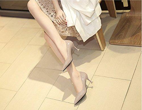 Sandalias elegante Albaricoque fina Boca talones zapatos Transpirable cuero una la Ajunr punta Con Los Luminoso Trabajo El zapatos 39 37 Moda 8cm superficial ocupación t6wxqcU15