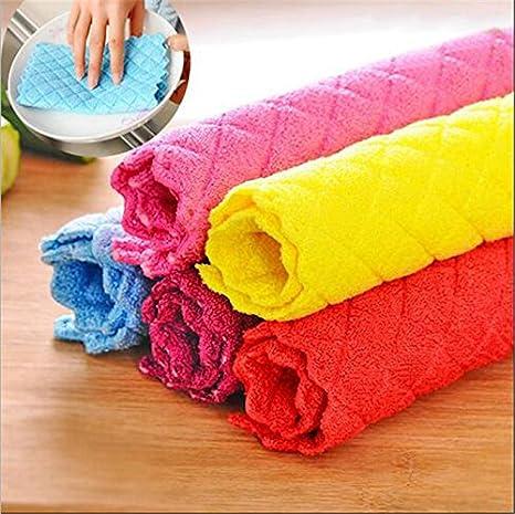 Generic azul: 5pcs gamuza de limpieza plato de cocina de bambú toallas de lavado de toallas de cocina aparato multifunción de Ultra absorbentes estropajo: ...