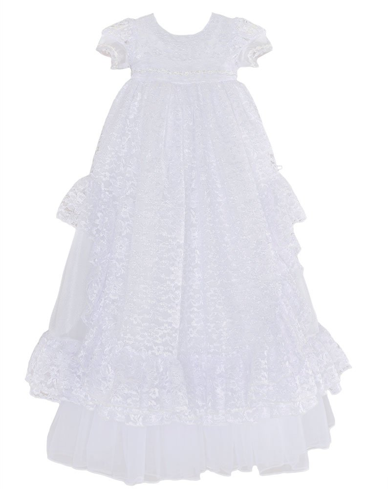 Lucy 3 Month Heirloom Lace Christening Baptism Blessing Gown for Girls, Made in USA by One Small Child
