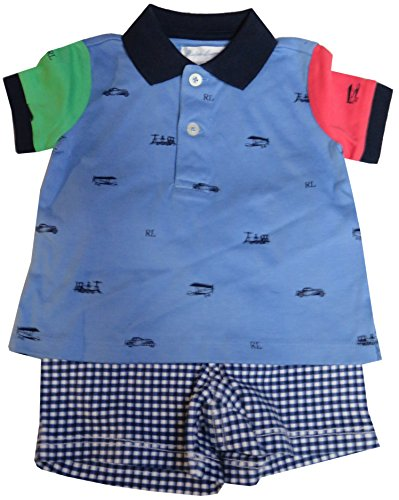 Ralph Lauren Polo Infant Boys 2 Piece Outfit Printed Shirt & Gingham Shorts (9 Months)