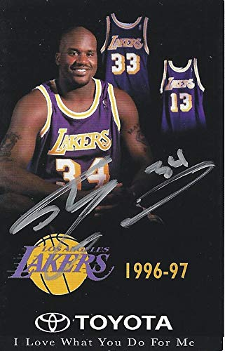 AUTOGRAPHED Shaquille O'Neal 1996-1997 Los Angeles Lakers Basketball Vintage Signed 2.25X3 Inch Calendar Season Pocket Schedule with COA