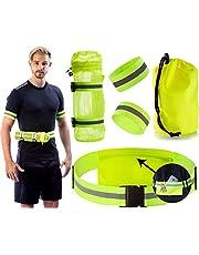 Clinch Star - Equipo reflectante para correr y ciclismo por la noche con bolsillo trasero – Soporte para botella de agua extraíble – Set de banda reflectante para el pie para el brazo al aire libre