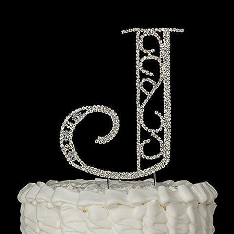 Monogram Letter J Initial Wedding Cake Topper, Rhinestone Silver Metal Decoration (J) - Swarovski Crystal Wedding Cake