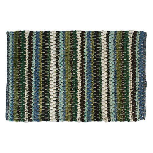 Cotton Contemporary Reversible Indoor Stripe Chindi Woven Area Rag Rug, 24x36