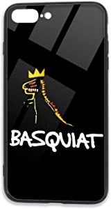 Jean-Michel Basquiat Logo Phone Case for iPhone 7 Plus Case/8 Plus Case TPU Glass Phone Case Anti-Scratch Shock Absorption Bumper Soft TPU Cover Case Stylish and Beautiful Patterns