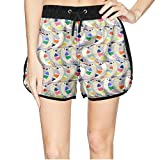 Women's I Love Colorful Birds Quick Dry Beach Shorts Swim Trunk