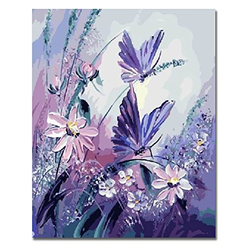 Rihe DIY Oil Painting Paint By Number Kit-Butterfly with Purple Flower 16x20 Inch (Frameless)