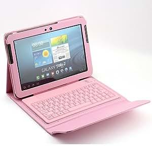 "Epartsdom @Pink Wireless Bluetooth Keyboard Case for Samsung Galaxy Tab 2 10.1 inch 10.1"" P5100 P5110 P5113 Tablet PU Leather"