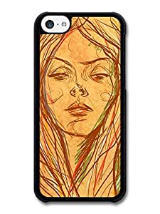 MMZ DIY PHONE CASEGirl Brown Drawing Original Art Illustration case for ipod touch 5