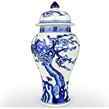XUZOU Blue and White Porcelain Ceramic Temple Jar Vase,Oriental Handpainted Chinese Ginger Jar from Jingdezhen - 11.34 inch Tall