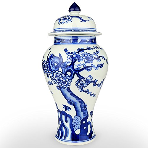 XUZOU Chinese Floral Blue and White Ceramic Temple Jar, Jingdezhen Oriental Handpainted Porcelain Ginger Jar - Decent Choice as Christmas Gift (Floral Asian Urn)