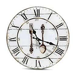 Cutlery Kitchen Clock, Roman Numerals, Quartz Movement, Analog, Fork and Spoon Graphic, Glass, Circular Cordless, 1 AA Battery Required (Not Included) Shabby, Rustic Over 1 Ft Diameter (13 Inches)