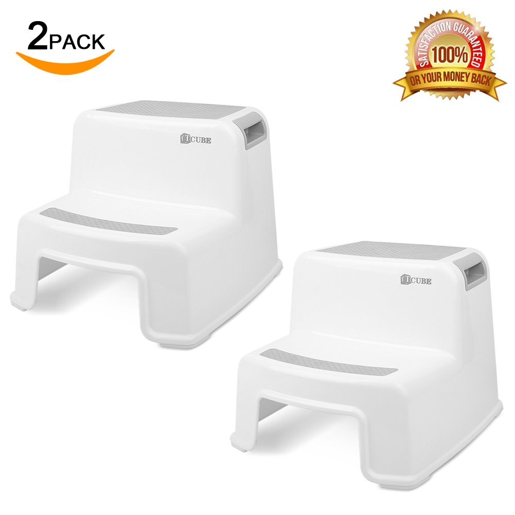 2 Step Stool for Kids (2 Pack) | Toddler Stool for Toilet Potty Training | Slip Resistant Soft Grip for Safety as Bathroom Potty Stool and Kitchen Step Stool | Dual Height & Wide Two Step | by TCube