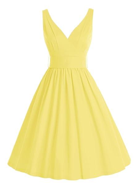Bbonlinedress Vestido Mujer Corto Escote En Pico Estilo 1950 con Cinturón Vintage Retro Yellow XL