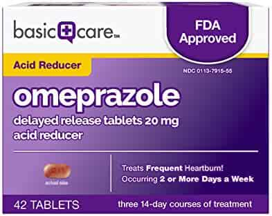 Basic Care Omeprazole Delayed Release Tablets 20 mg, Acid Reducer, 42 Count