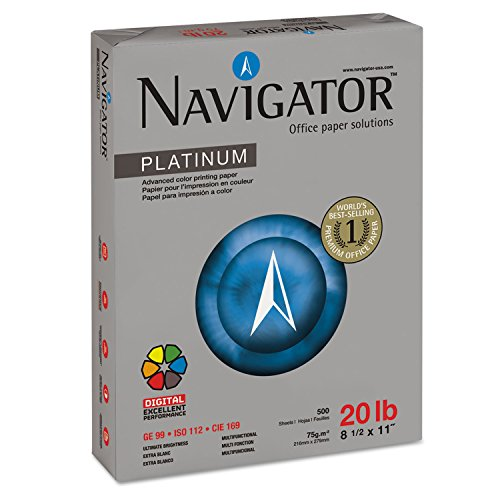 Navigator NPL1120 Platinum Paper, 99 Brightness, 20lb, 8-1/2 x 11, White (Case of 5000 Sheets)