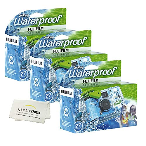 Fujifilm Quick Snap Waterproof 27 exposures 35mm Camera 800 Film, 1 Pack + Quality Photo Microfiber Cloth (3 Pack)