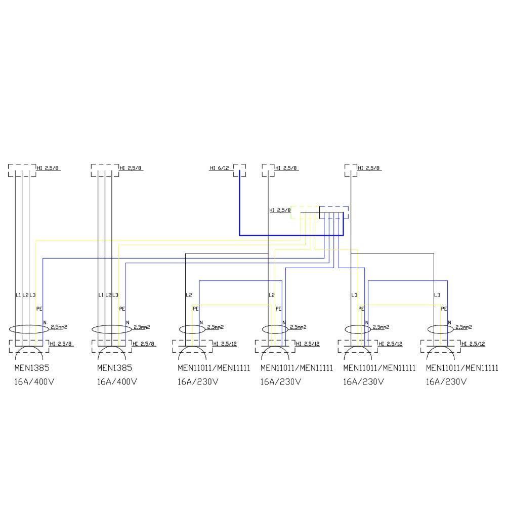Stromverteiler TD 2x32A 4x230V franz//belgische System Baustromverteiler 2435