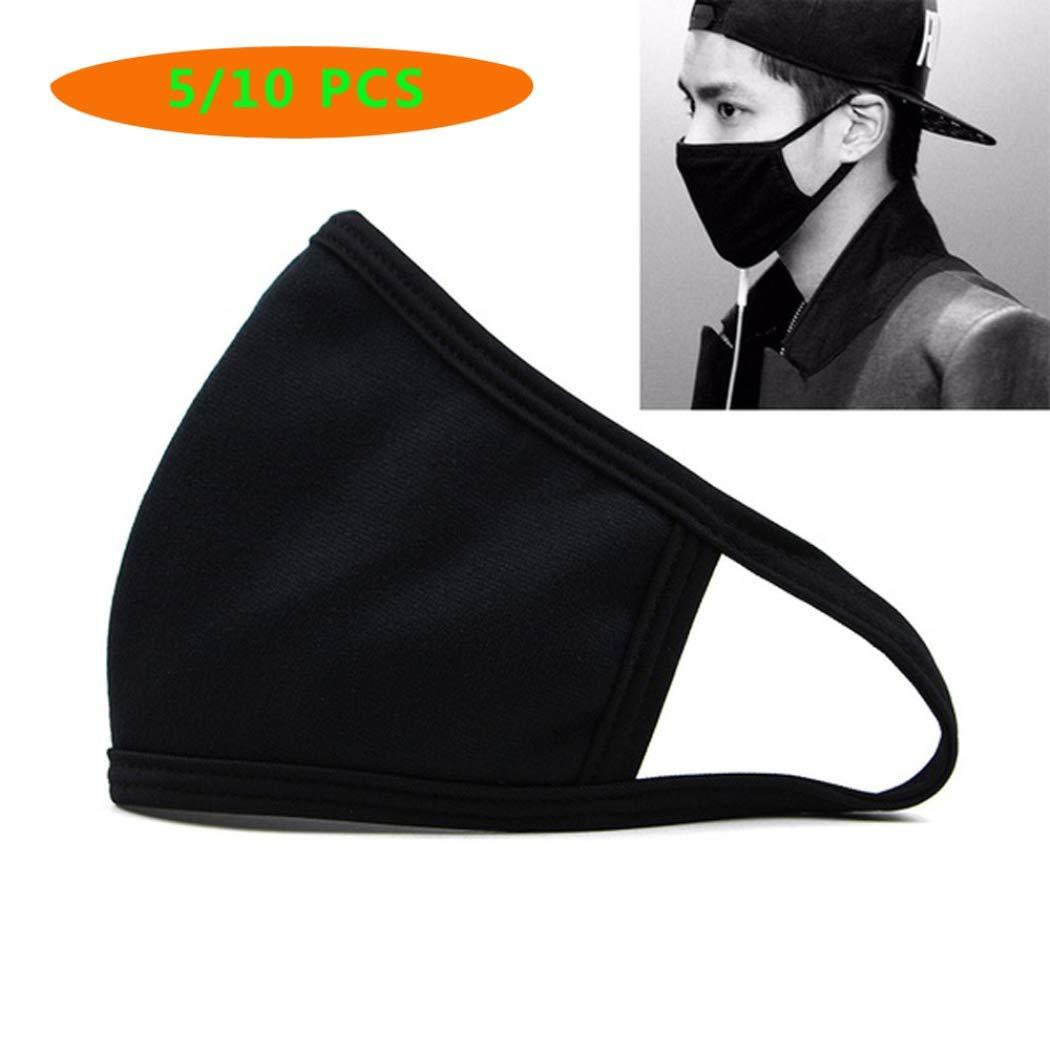 BoBoLing Black Outdoor Fashion Anti-Dust Cotton Unisex Face Mask Respirator Winter Warm Mouth Mask 5 PCS