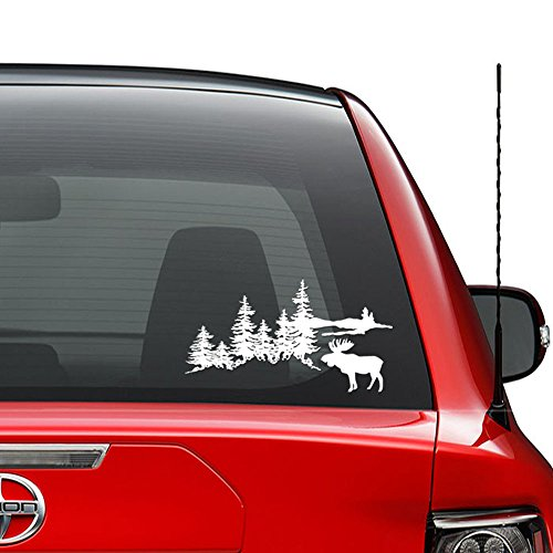 Outdoors Forest Moose Mountain Vinyl Decal Sticker Car Truck Vehicle Bumper Window Wall Decor Helmet Motorcycle and More - (Size 5 inch / 13 cm Wide) / (Color Gloss White)