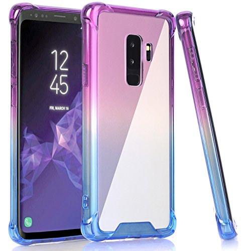 BAISRKE Galaxy S9 Plus Case, Blue Purple Gradient Shock Abso