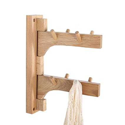 FFF-Coat rack Perchero de Pared Soporte de Madera Maciza ...