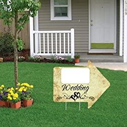 "VictoryStore Yard Sign Outdoor Lawn Decorations: Wedding Arrow Sign with Blank Space 18""x 24"" - w/ 2 EZ Stakes"
