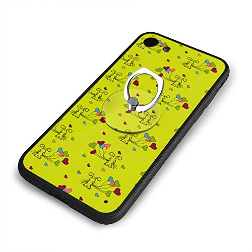 - Case for iPhone 6/6s Plus Little Bunny and Balloons Green Mobile Phone Shell Ring Bracket Ultra Light Slim Fit Anti Scratch Fingerprint Premium